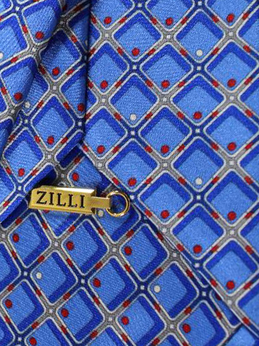 Zilli Extra Long Tie Blue Red Gray Geometric