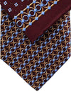 Zilli Silk Tie & Pocket Square Set Maroon Geometric