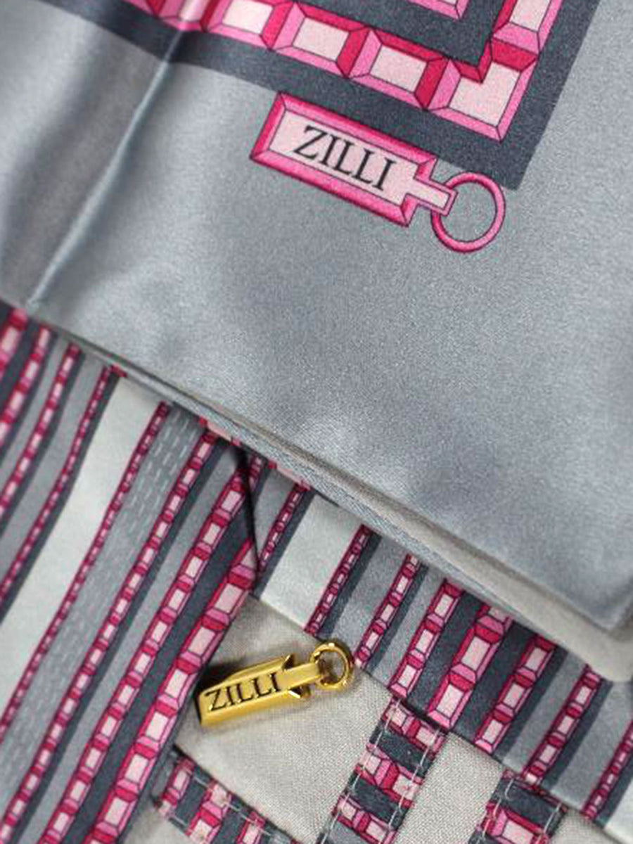 Zilli Silk Tie & Pocket Square Set Grey Pink Stripes