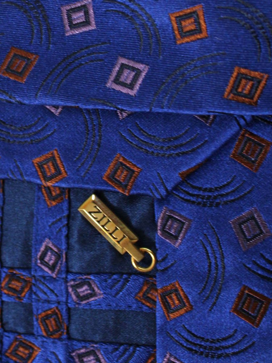 Zilli Tie Lapis Blue Brown Lilac Geometric - Wide Necktie