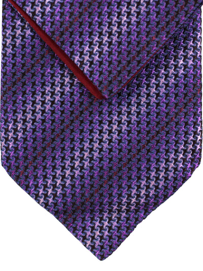 Zilli Tie & Pocket Square Set Purple Gray Pink Geometric Stripes