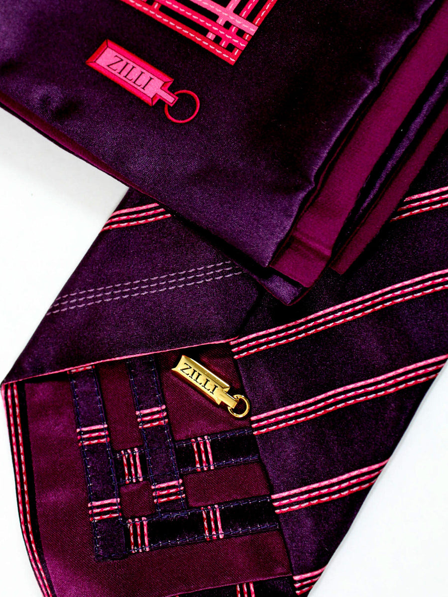 Zilli Tie & Pocket Square Set Dark Maroon Red Pink Stripes