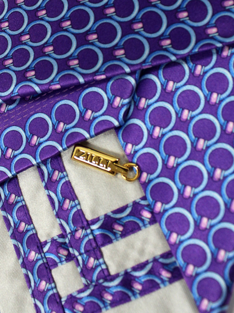 Zilli Tie Purple Blue Geometric Design - Wide Necktie