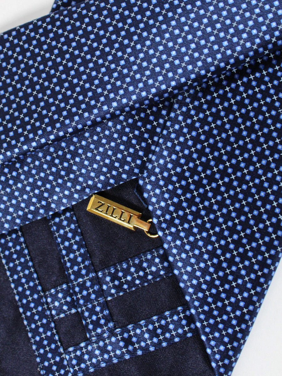 Zilli Tie Navy Geometric Design - Wide Necktie