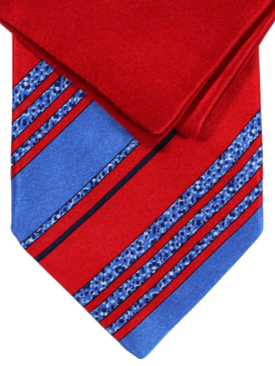 Zilli Silk Tie & Pocket Square Set Red Blue Stripes