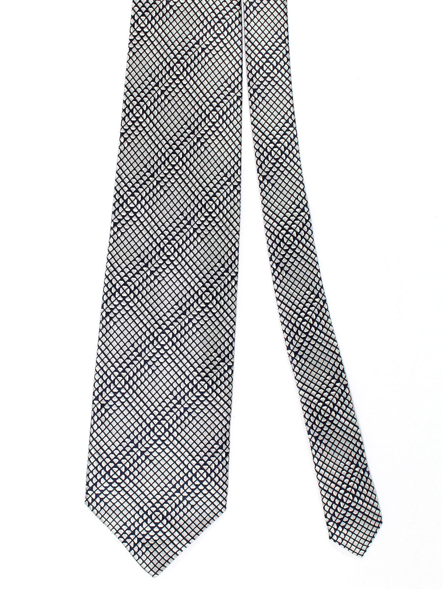Zilli Silk Tie & Pocket Square Set Black Gray Geometric