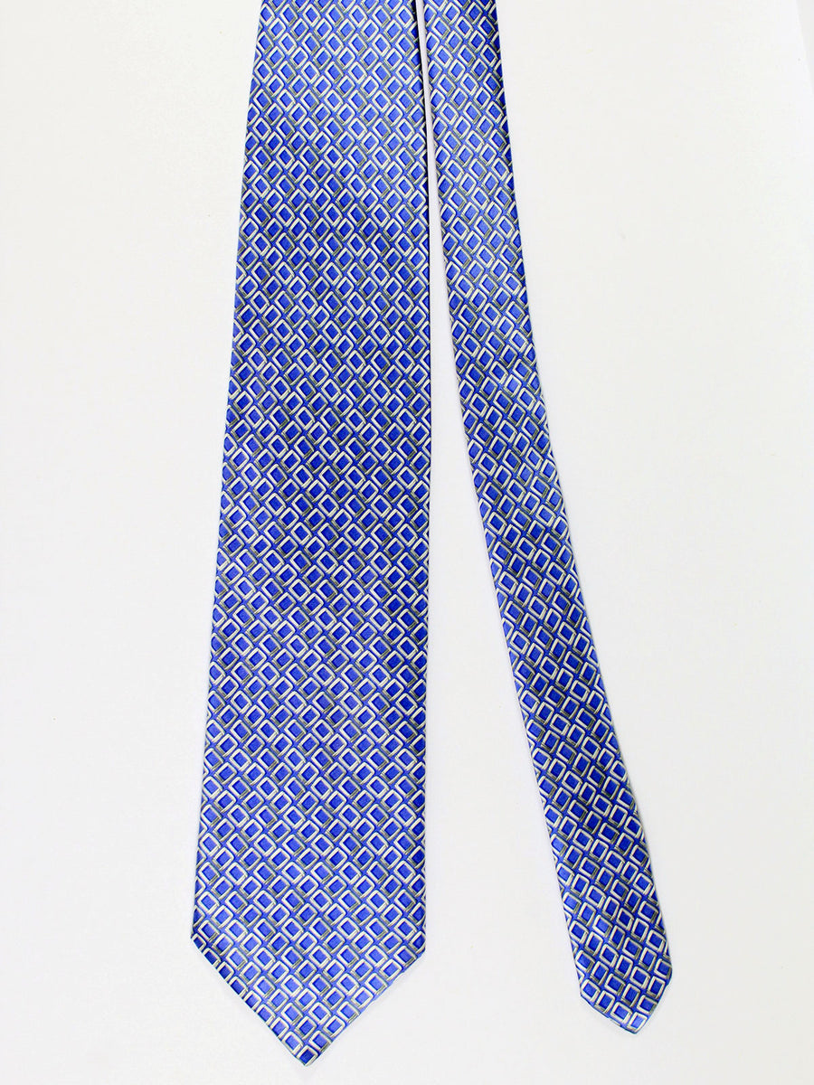 Zilli Silk Tie & Pocket Square Set Purple Gray Geometric