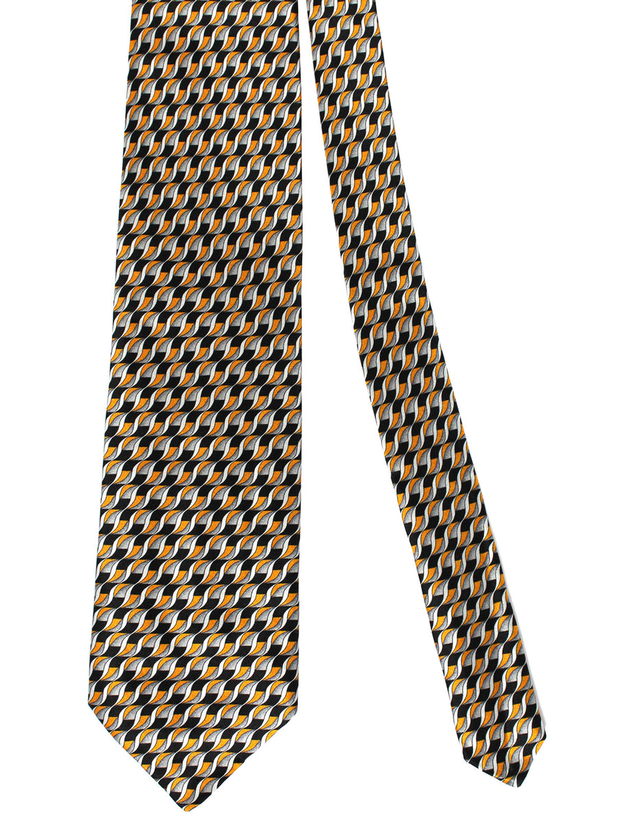 Zilli Silk Tie & Pocket Square Set Black Gray Orange Geometric
