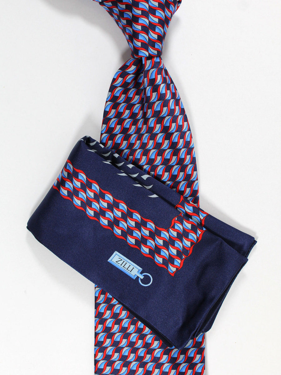 Zilli Silk Tie & Pocket Square Set Navy Blue Red Geometric