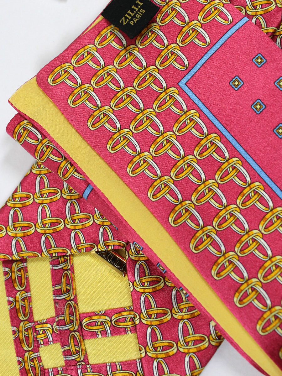 Copy of Zilli Silk Tie & Pocket Square Set Pink Rings