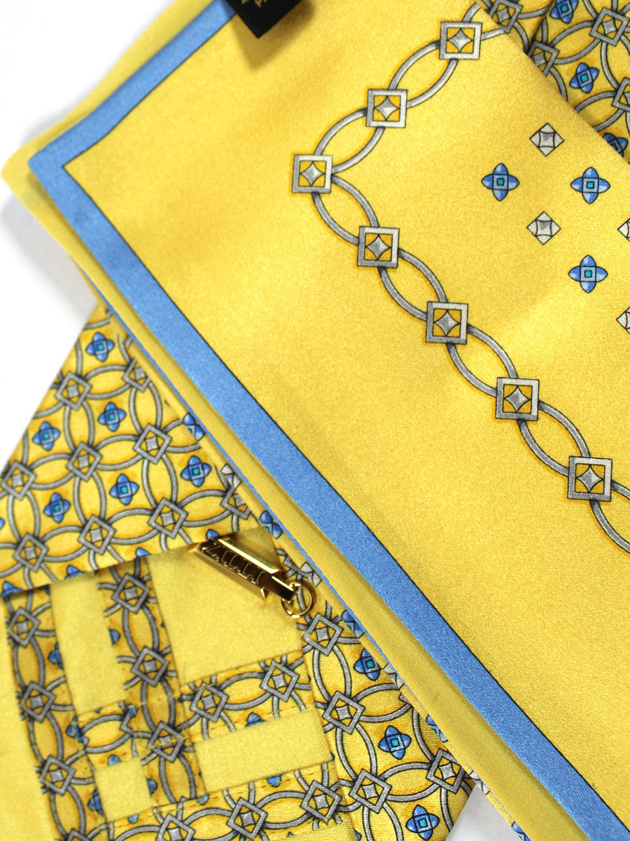 Zilli Silk Tie & Pocket Square Set Yellow Blue Medallions