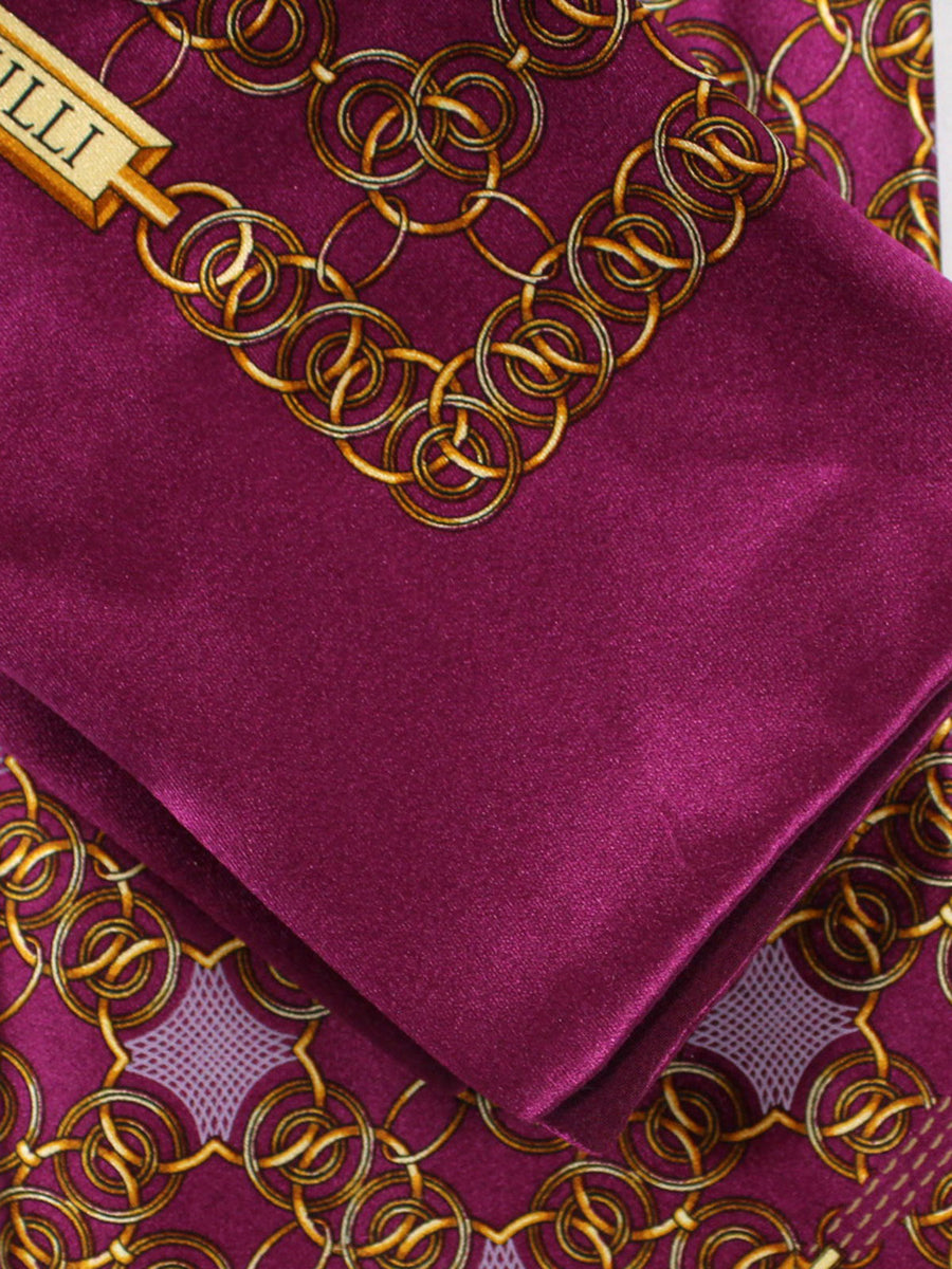 Zilli Silk Tie & Pocket Square Set Burgundy Gold Geometric