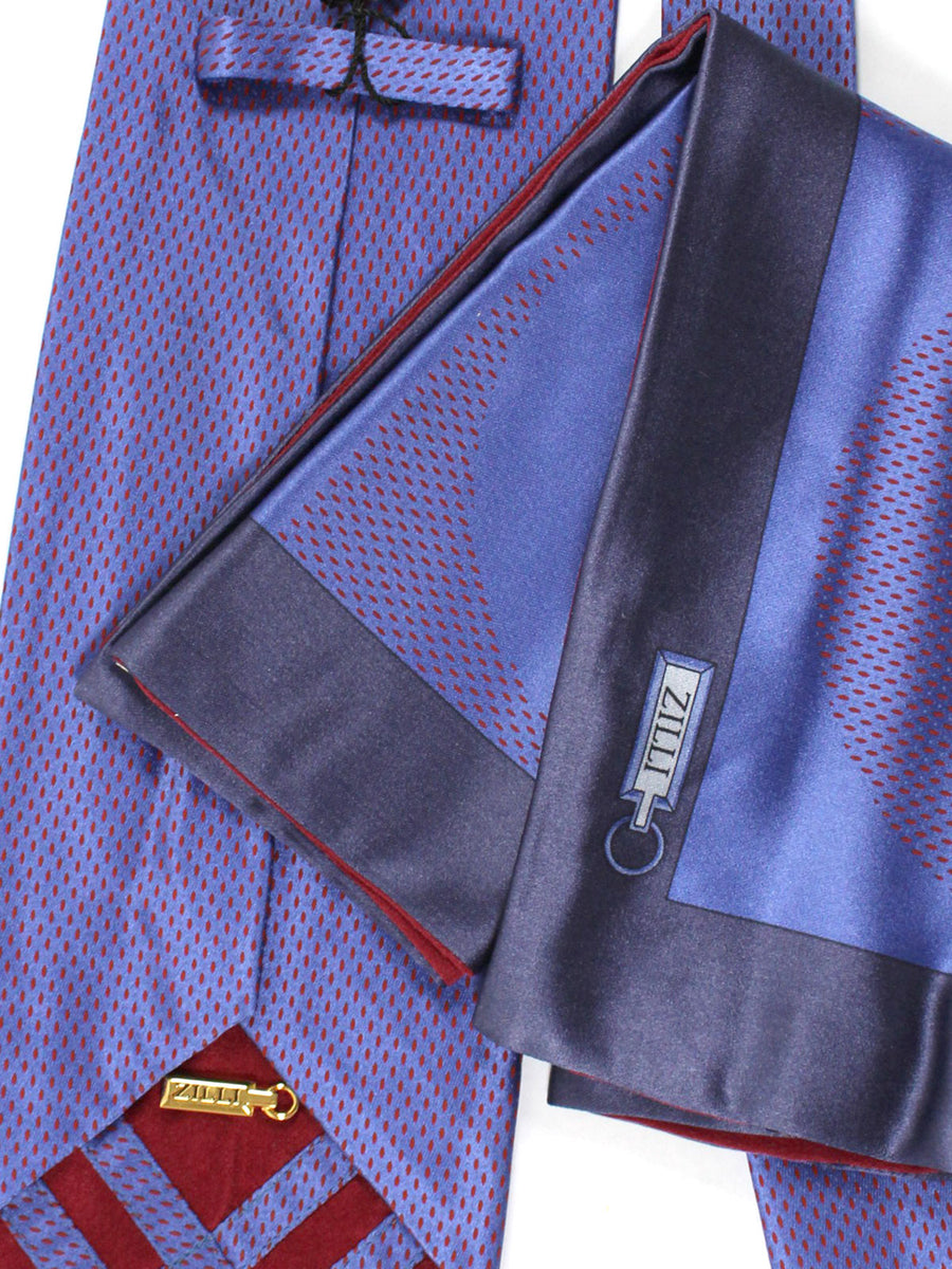 Zilli Silk Tie & Pocket Square Set Purple Burgundy Design