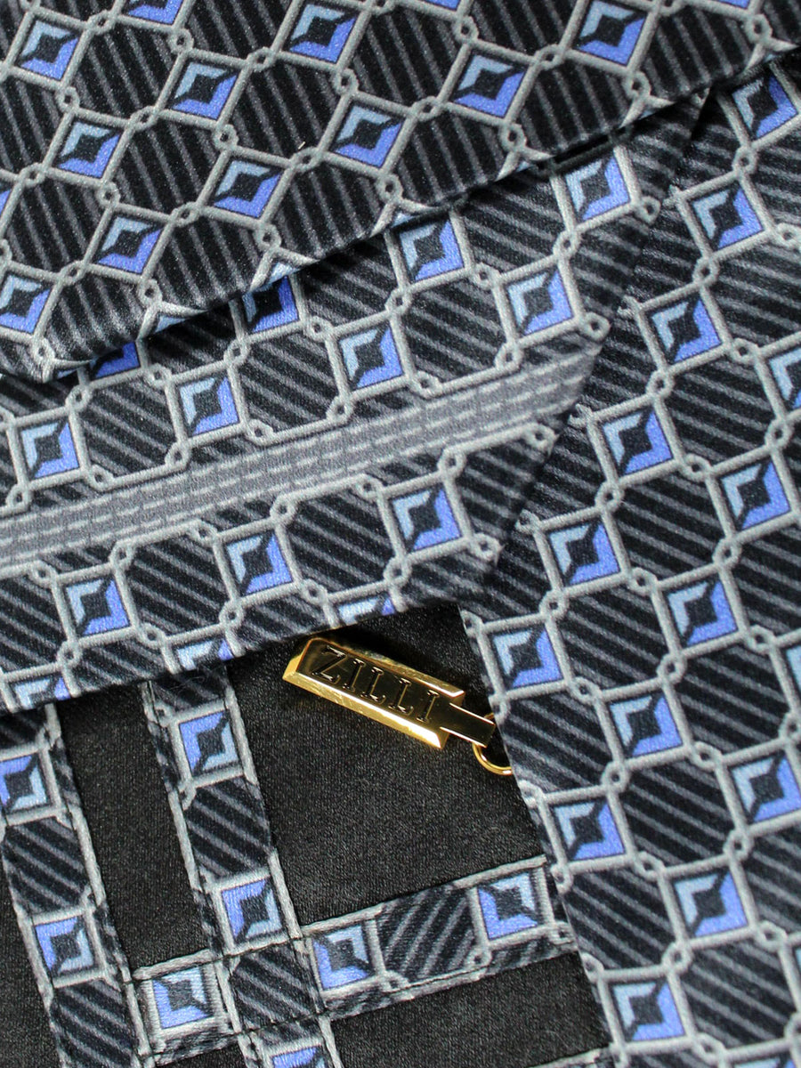 Zilli Tie Black Blue Geometric Design - Wide Necktie