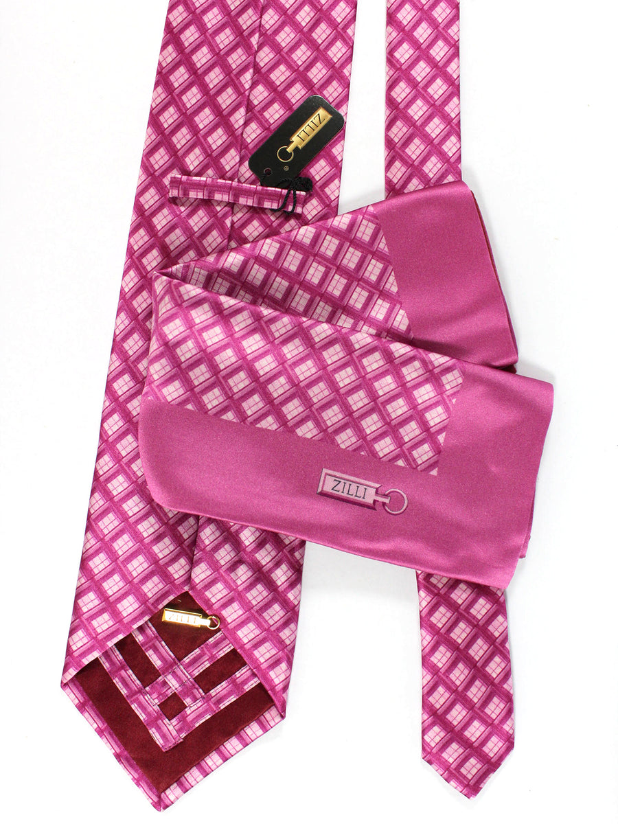Zilli Silk Tie & Pocket Square Set Pink Purple Check Design