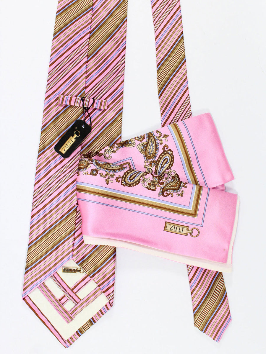 Zilli Silk Tie & Pocket Square Set Pink Brown Stripes Design