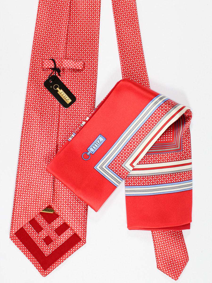 Zilli Silk Tie & Pocket Square Set Red Squares Design