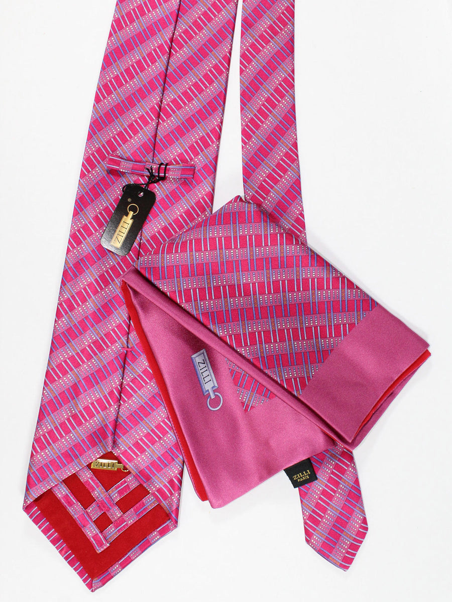Zilli Silk Tie & Pocket Square Set Fuchsia Blue Stripes Design