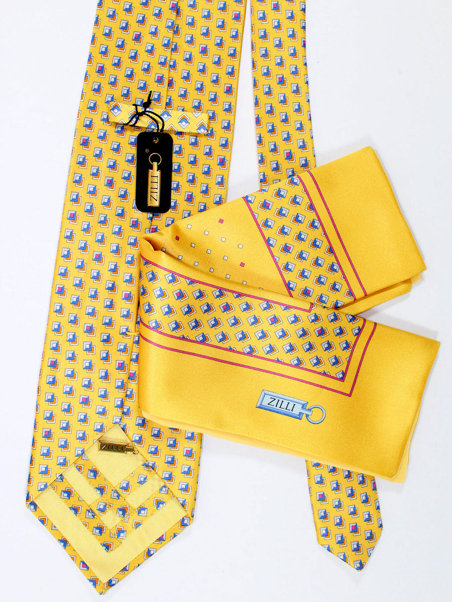 Zilli Silk Tie & Pocket Square Set Yellow Geometric Design
