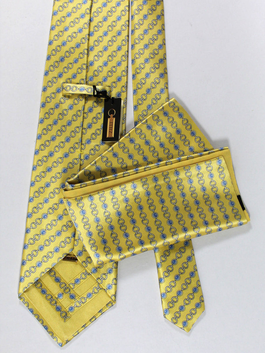 Zilli Silk Tie & Pocket Square Set Yellow Blue Silver Geometric Design