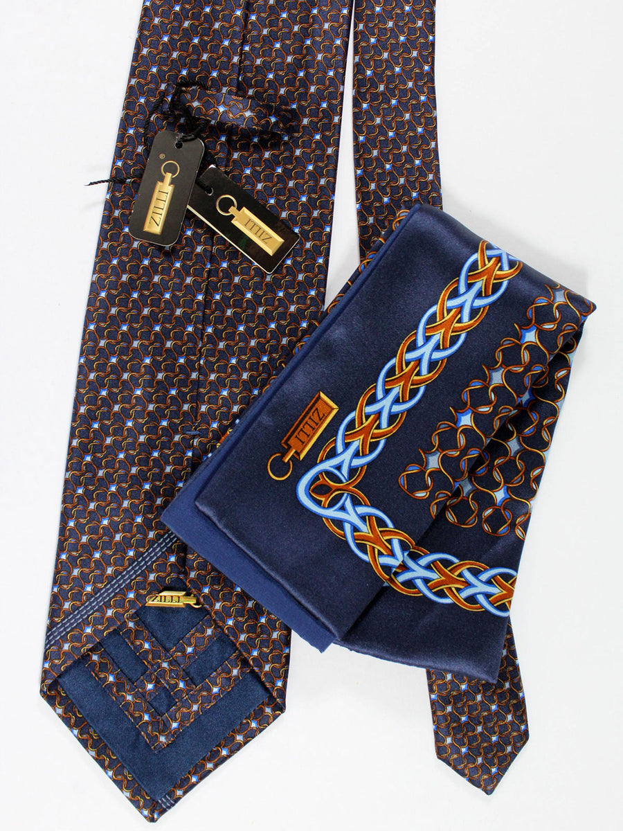 Zilli Silk Tie & Pocket Square Set Navy Blue Brown Gold Geometric Design