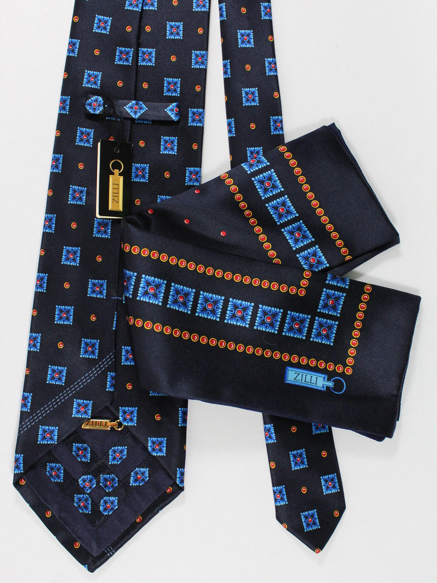 Zilli Silk Tie & Pocket Square Set Navy Royal Red Geometric Design