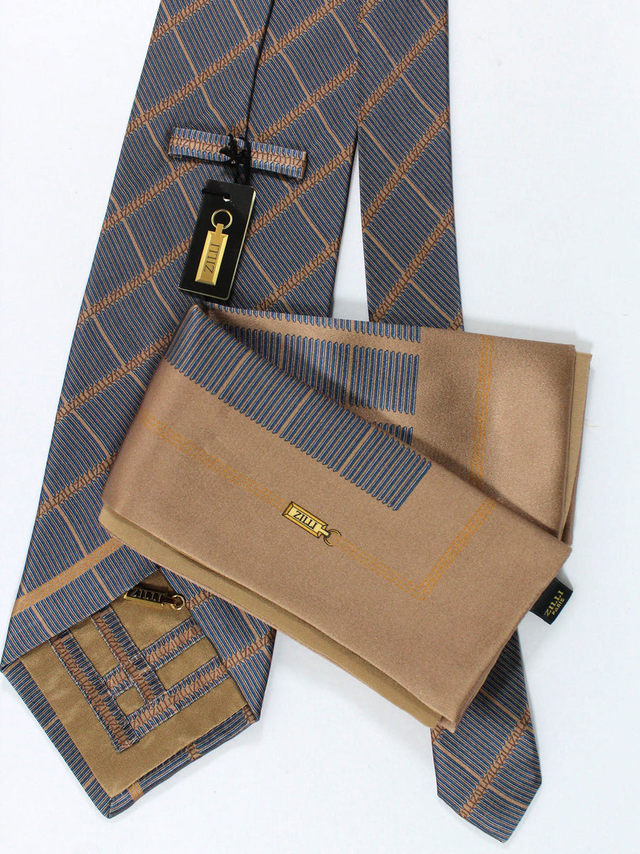 Zilli Silk Tie & Pocket Square Set Brown Metallic Gray Check Design