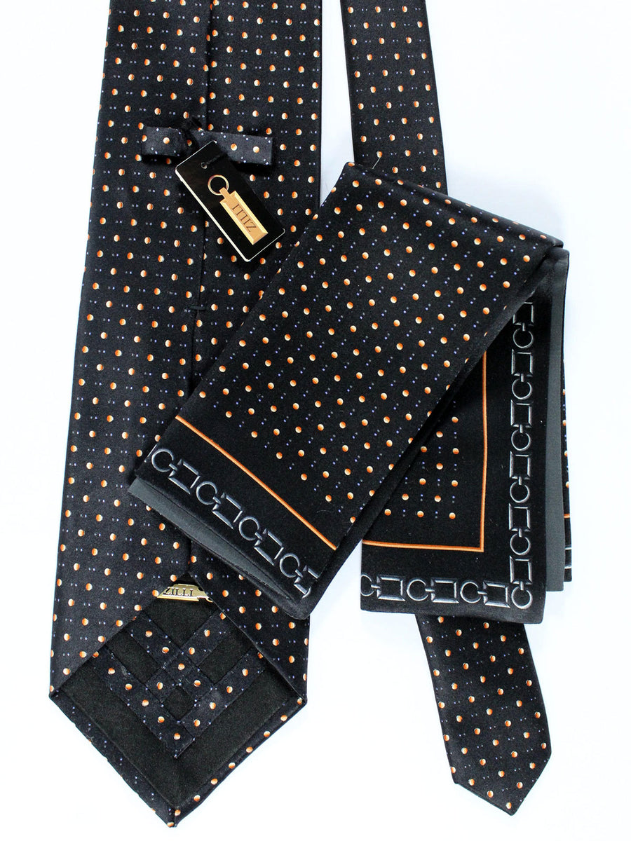 Zilli Silk Tie & Pocket Square Set Black Dots Design