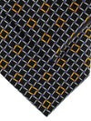 Zilli Silk Tie & Pocket Square Set Black Gold Purple Geometric Design