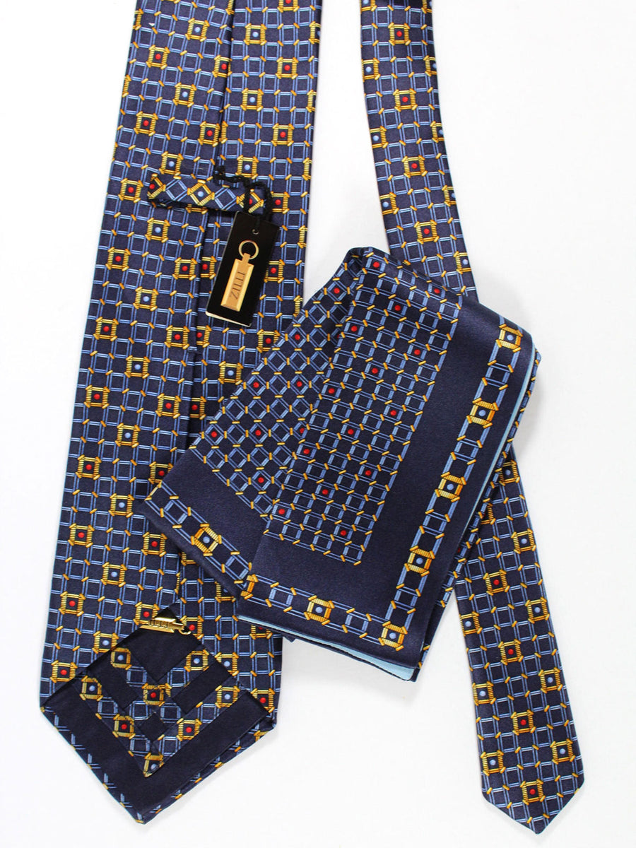 Zilli Silk Tie & Pocket Square Set Navy Gold Blue Geometric Design
