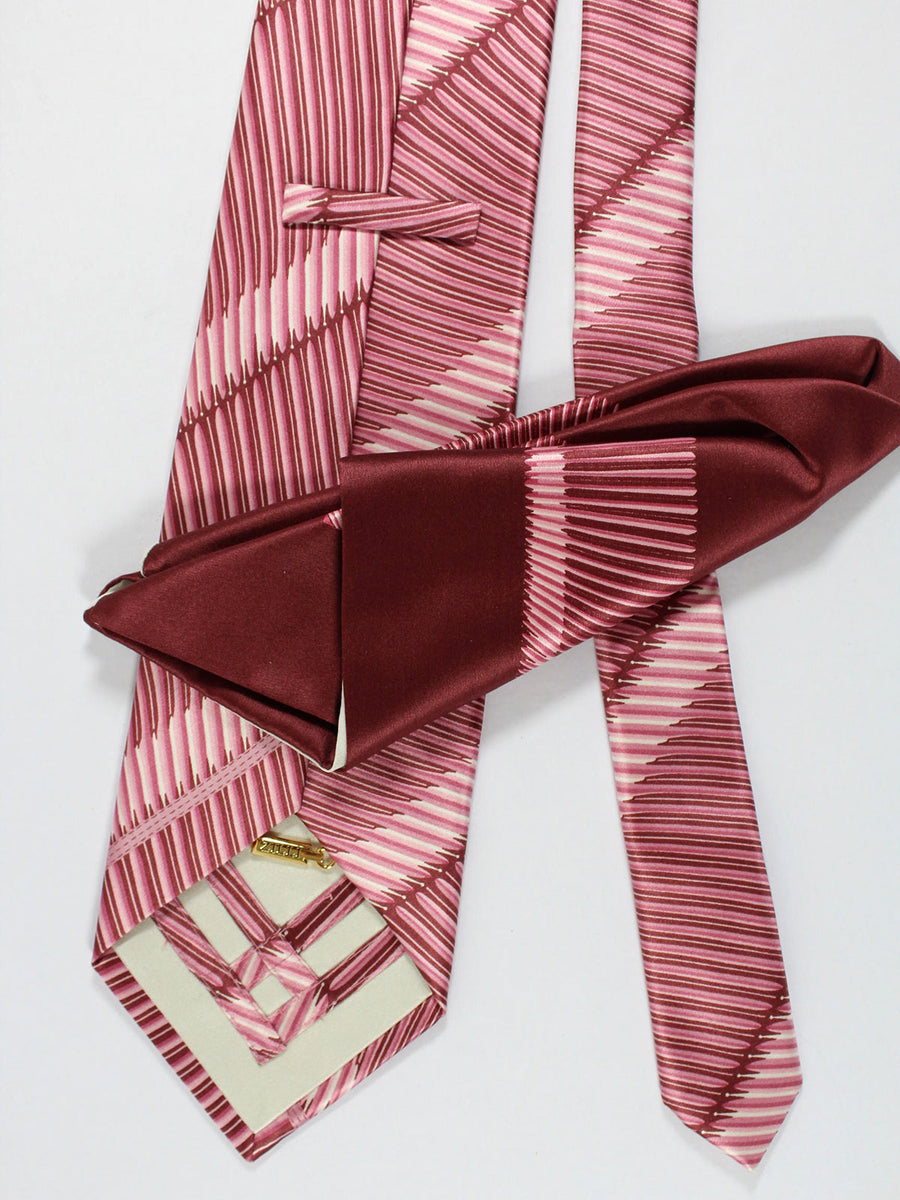 Zilli Silk Tie & Pocket Square Set Pink Stripes Design