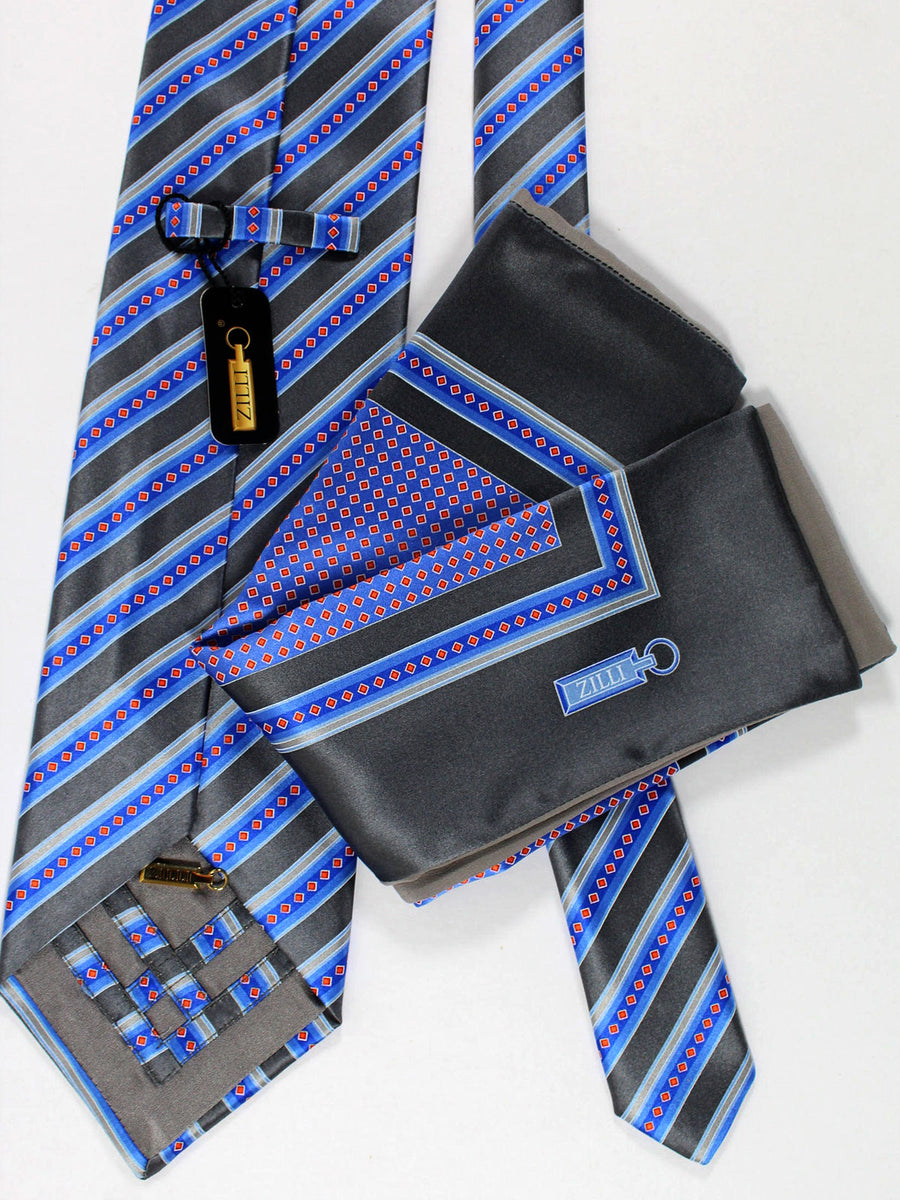 Zilli Silk Tie & Pocket Square Set Gray Royal Stripes Design