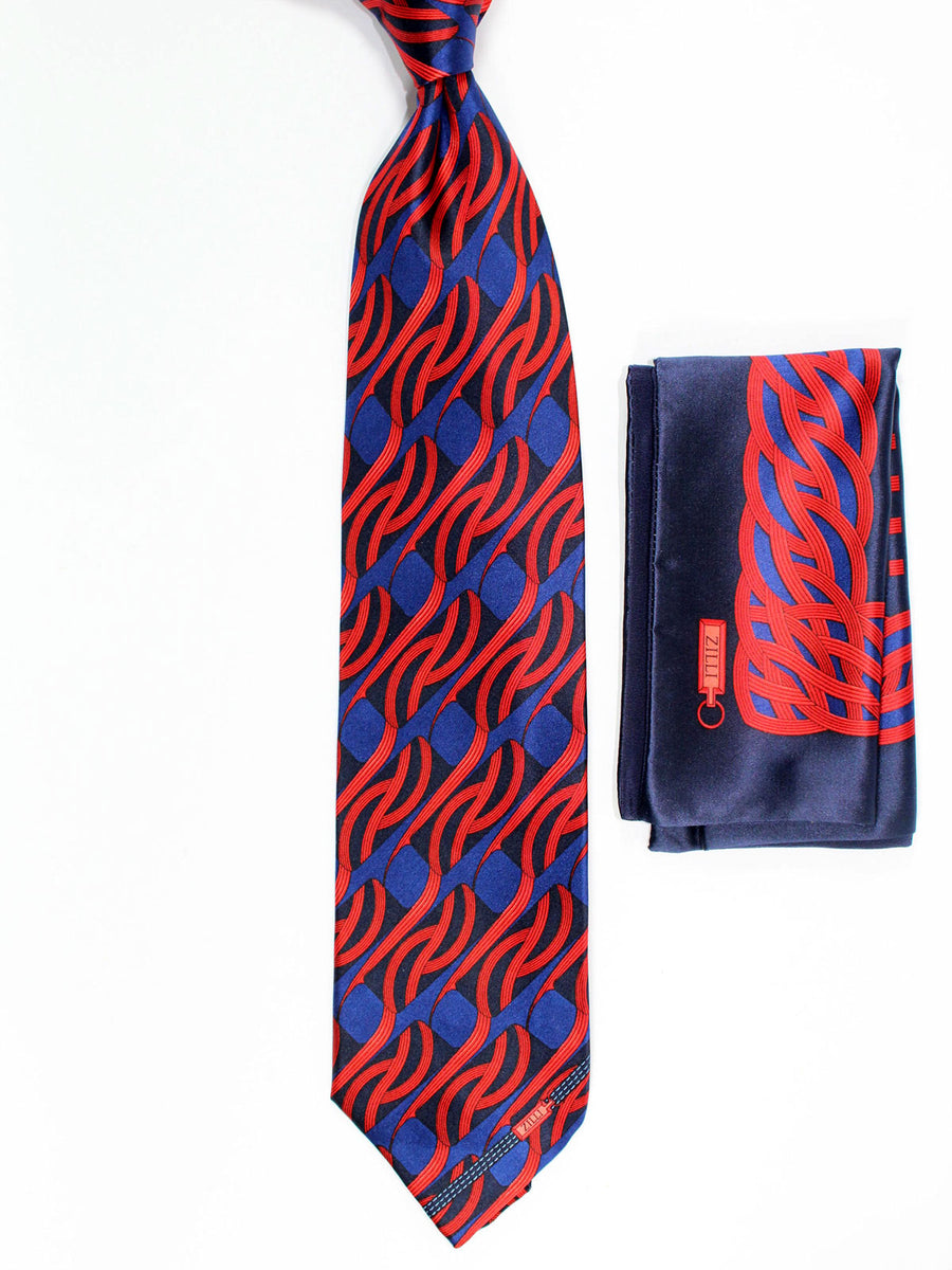 Zilli Silk Tie & Pocket Square Set Lavender Blue Red Black Geometric Design