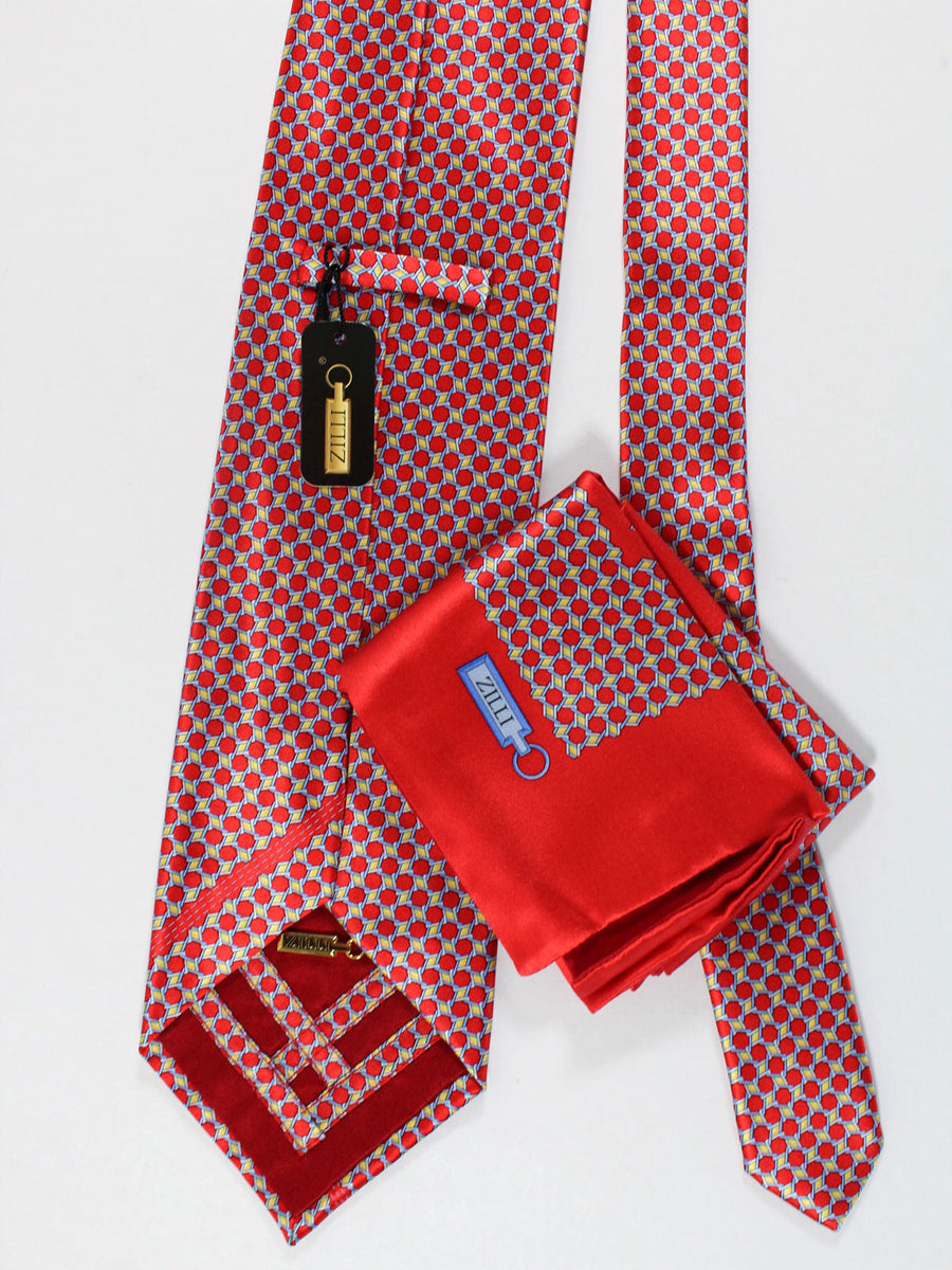 Zilli Silk Tie & Pocket Square Set Red Yellow Blue Geometric Design