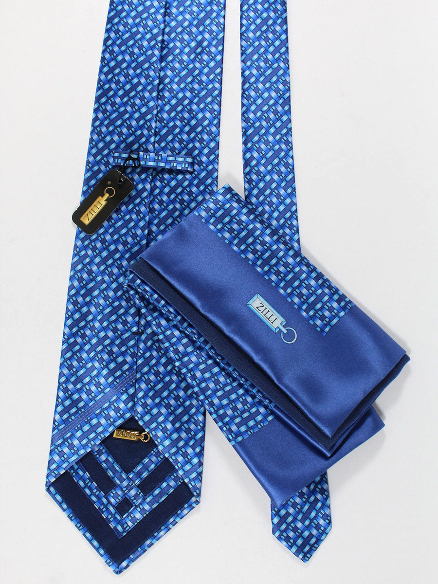 Zilli Silk Tie & Pocket Square Set Blue Midnight Blue Geometric Design
