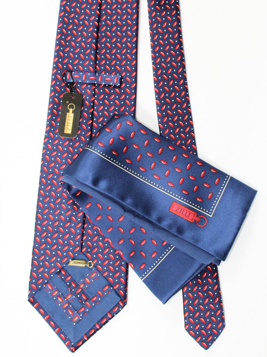 Zilli Extra Long Tie & Pocket Square Set Navy Red Geometric