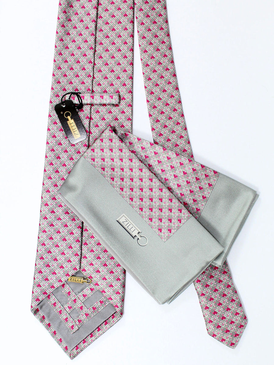 Zilli Extra Long Tie & Pocket Square Set Gray Pink Geometric