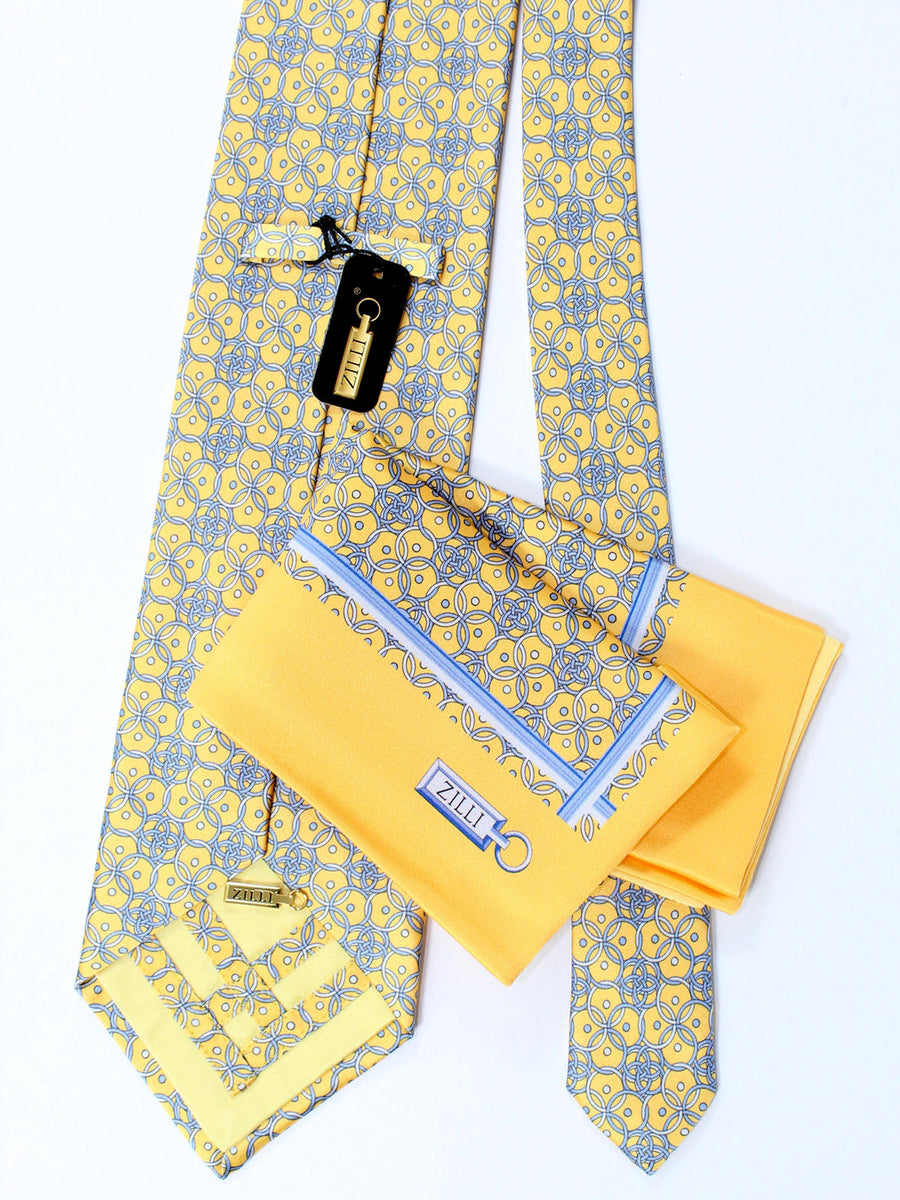 Zilli Extra Long Tie & Pocket Square Set Yellow Gray Geometric