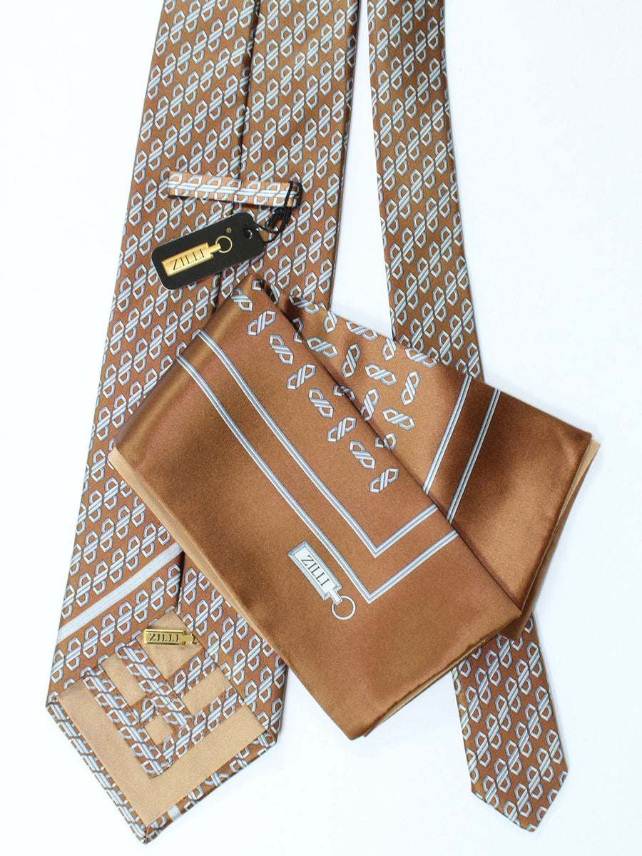 Zilli Extra Long Tie & Pocket Square Set Brown Gray Geometric