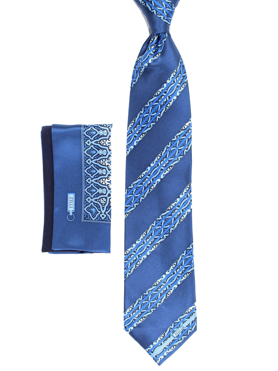 Zilli Tie & Pocket Square Set Navy Ornamental Stripes