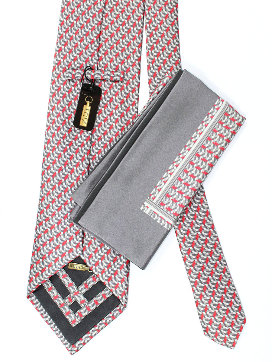 Zilli Tie & Pocket Square Set Gray Red Geometric