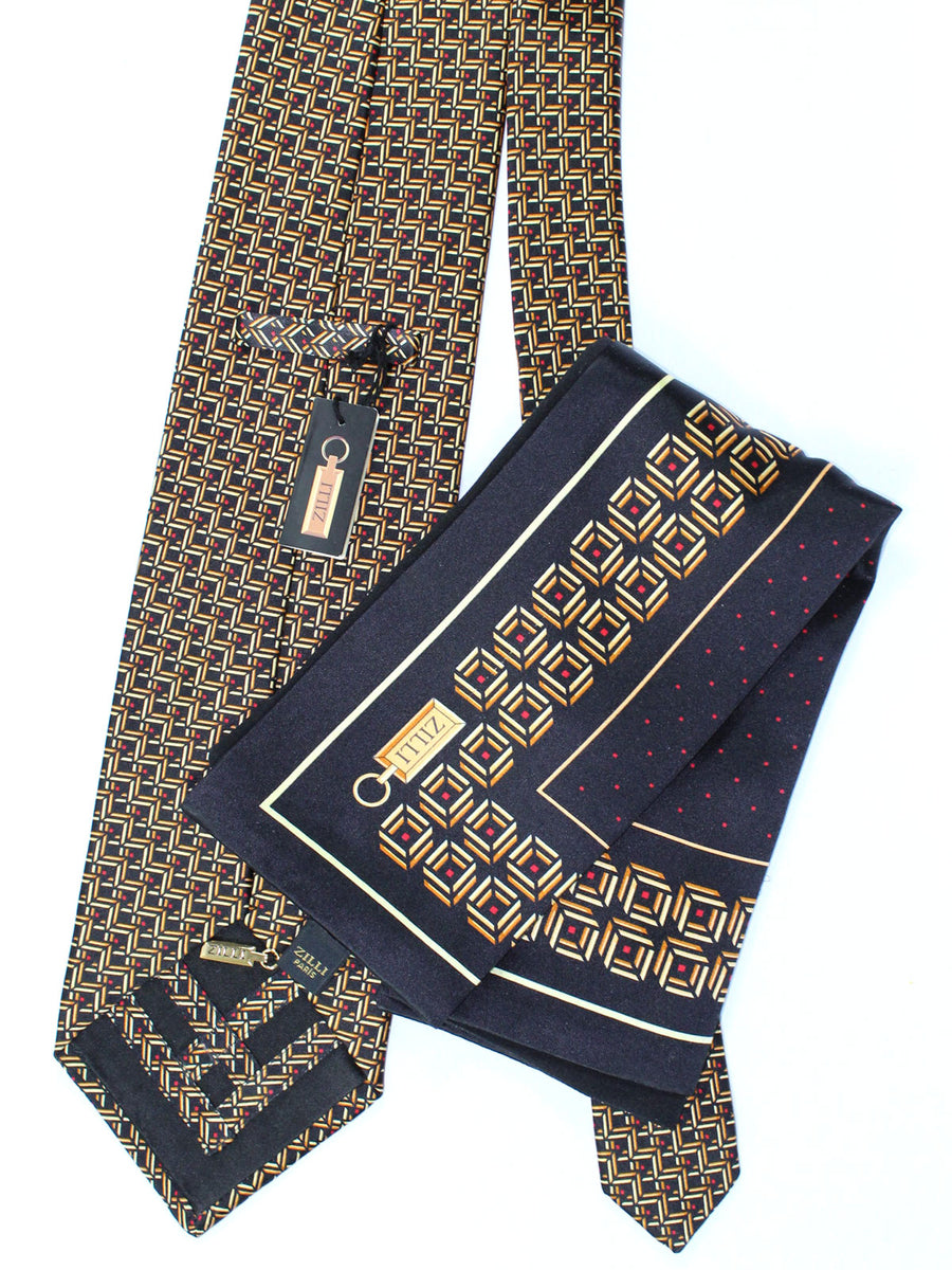 Zilli Tie & Pocket Square Set Black Gold Geometric