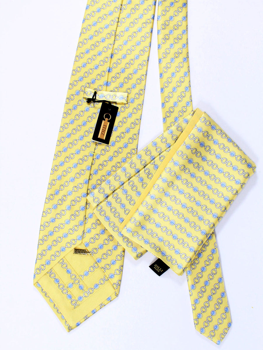Zilli Tie & Pocket Square Set Yellow Blue Geometric