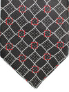 Zilli Tie Black Silver Red Check Design - Wide Necktie