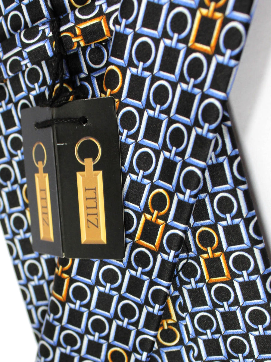 Zilli Tie Black Blue Gold Geometric Design - Wide Necktie
