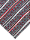 Zilli Tie Gray Burgundy Stripes Geometric Design - Wide Necktie
