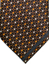 Zilli Tie Black Rust Orange Geometric Design - Wide Necktie