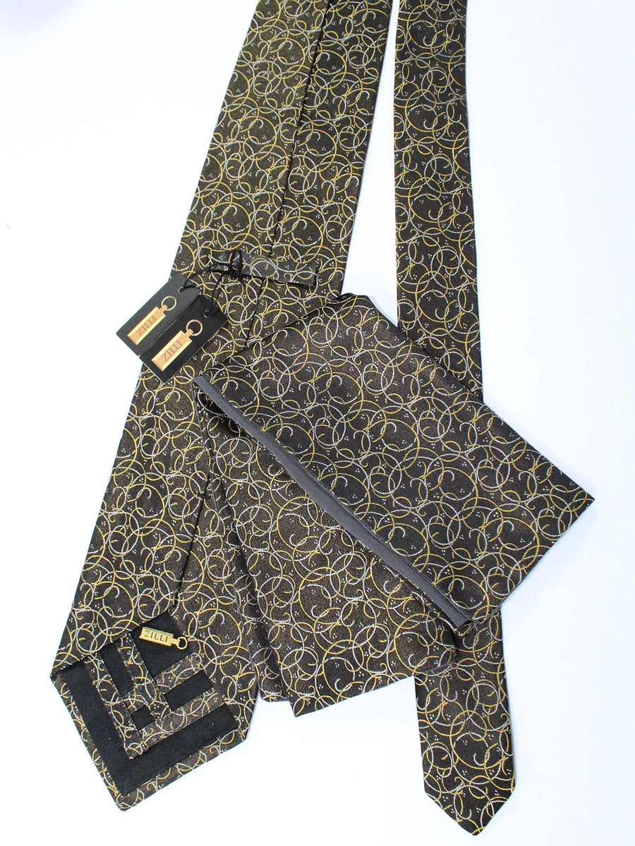Zilli Silk Tie & Pocket Square Set Black Mustard