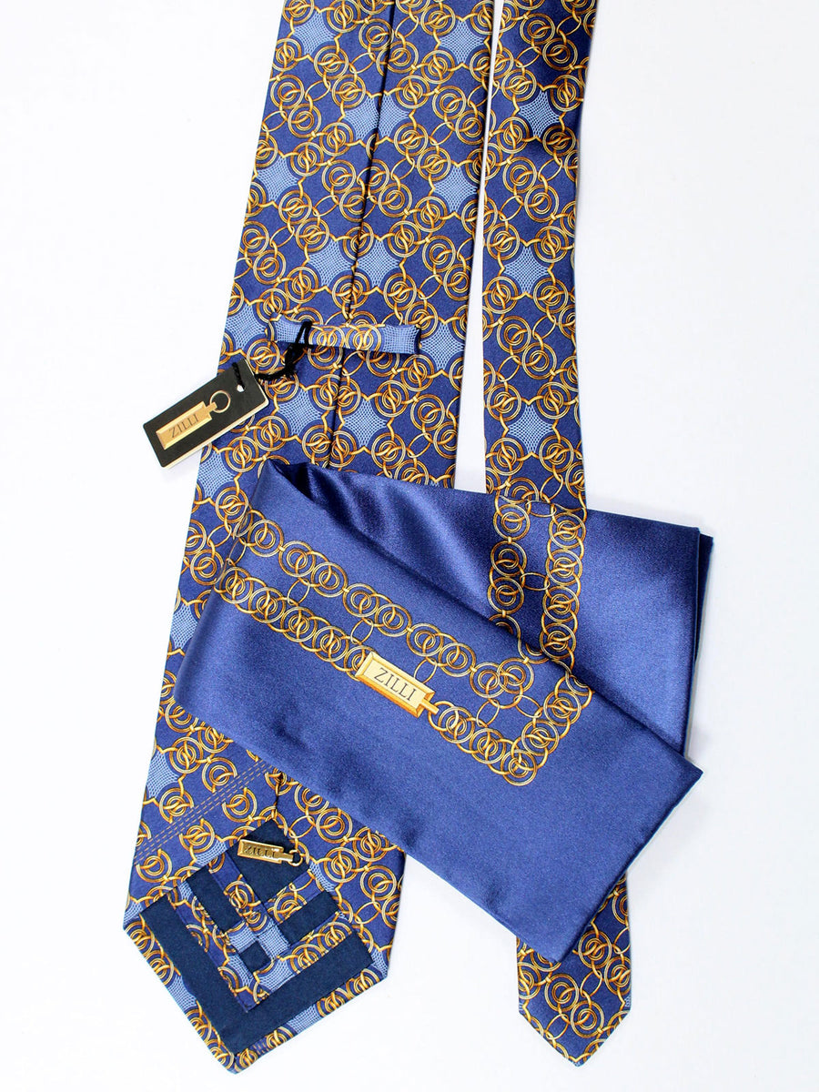 Zilli Silk Tie & Pocket Square Set Midnight Navy Brown Gold Geometric