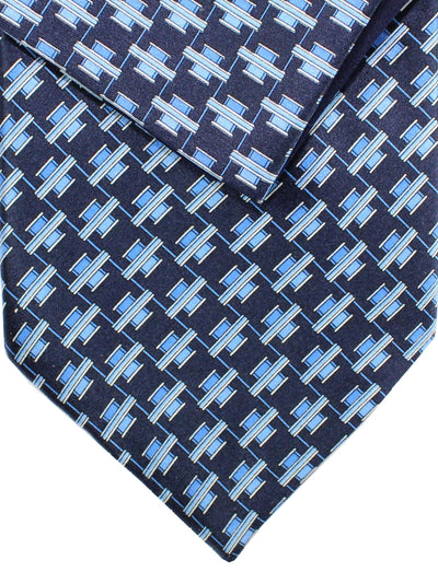 Zilli Silk Tie & Pocket Square Set Navy Blue Geometric